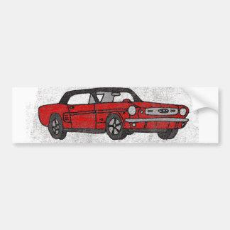 Cool Retro Vintage Red Convertible Pony Car Bumper Sticker