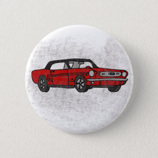 Cool Retro Vintage Red Convertible Pony Car Button