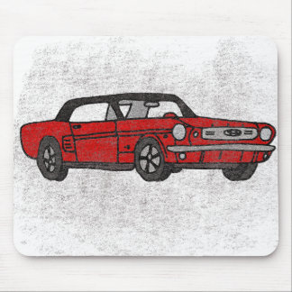 Cool Retro Vintage Red Convertible Pony Car Mouse Pad