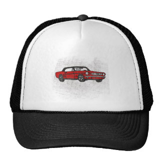 Cool Retro Vintage Red Convertible Pony Car Trucker Hat