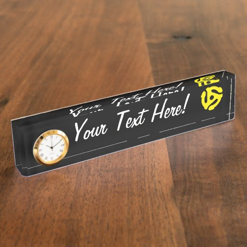 COOL Retro Vintage Yellow 45 spacer DJ Desk Name Plate