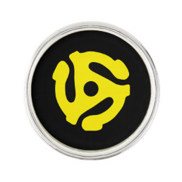 COOL Retro Vintage Yellow 45 spacer DJ Print Pin