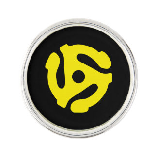 COOL Retro Vintage Yellow 45 spacer DJ Print Pin
