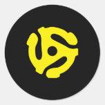 COOL Retro Vintage Yellow 45 spacer DJ Round Sticker