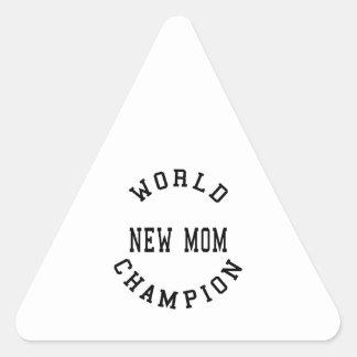 Cool Retro World Champion New Mom Triangle Sticker