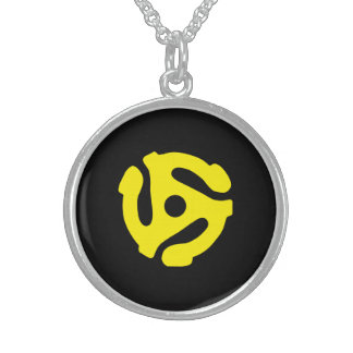 COOL Retro Yellow 45 spacer DJ Sterling Silver Necklace