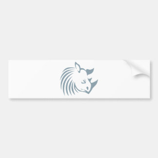 Cool Rhinoceros Swish Logo Icon Style Bumper Sticker