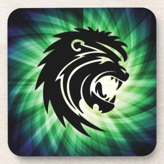 Cool Roaring Lion Silhouette Beverage Coaster