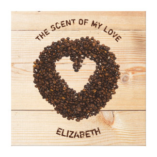 Cool Roasted Coffee Beans In Shape Of Heart Canvas Print