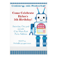 Cool Robot Birthday Party Invitations