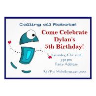 Cool Robot Birthday Party Invitations Blue
