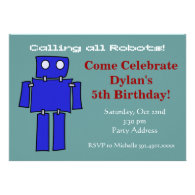 Cool Robot Birthday Party Invitations Teal