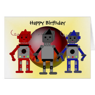 Cool Robots Birthday Wishes Greeting Card