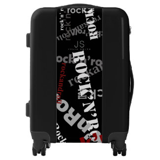 cool rock and roll black luggage