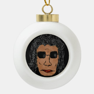 Cool Rock Star Man Drawing Ceramic Ball Christmas Ornament