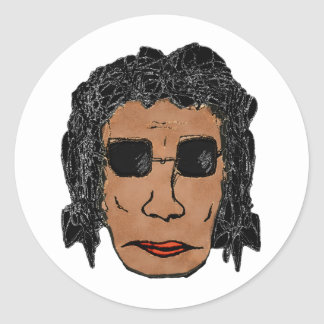 Cool Rock Star Man Drawing Classic Round Sticker