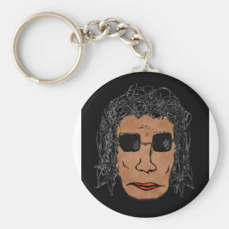 Cool Rock Star Man Drawing Keychain