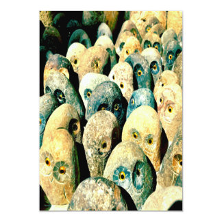 Cool Rock Stone Owl Faces with Eyes Card
