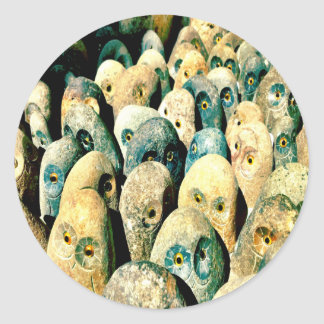 Cool Rock Stone Owl Faces with Eyes Classic Round Sticker