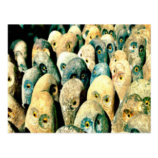 Cool Rock Stone Owl Faces with Eyes Post Cards