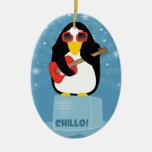 Cool Rockin' Penguin Says Chillo at Christmas Ceramic Ornament