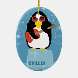Cool Rockin' Penguin Says Chillo at Christmas Christmas Ornaments