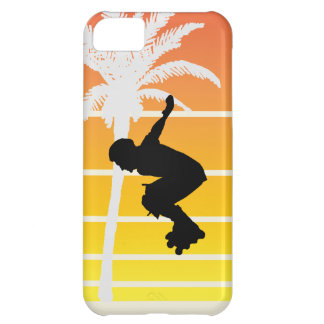 Cool Rollerblader with Palm Tree iPhone 5C Cases