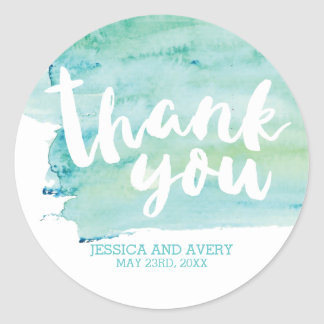Cool Romance Watercolor Thank You Classic Round Sticker