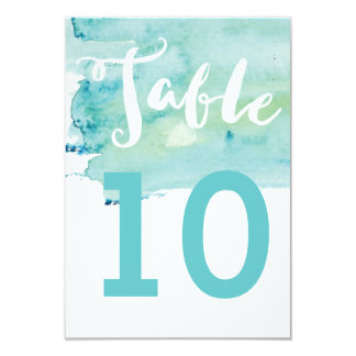 Cool Romance Watercolor Wedding Table Number Card