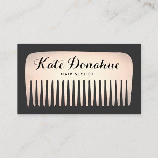 Cool rose gold hair stylist comb hair salon business card zazzle cool rose gold hair stylist comb hair salon business card colourmoves