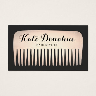 Cool Rose Gold Hair Stylist Comb Hair Salon Business Card