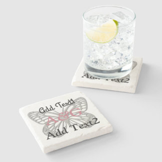 Cool Rose Silver Butterfly Wedding Stone Coaster