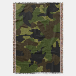 Cool Rough Green Camo Military Woven Throw Blanket