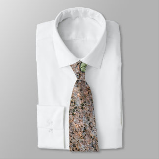 Cool Rough Neutral Rock Texture with Green Moss Neck Tie