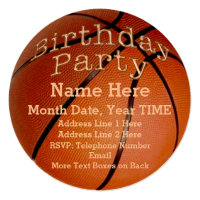 Cool Round Custom Basketball Birthday Invitations