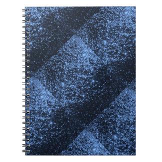 COOL ROYAL BLUE BLACK SPARKLE GLITTER BACKGROUND P SPIRAL NOTEBOOK
