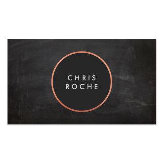 Cool Rustic Copper Circle Emblem Black Chalkboard Business Card