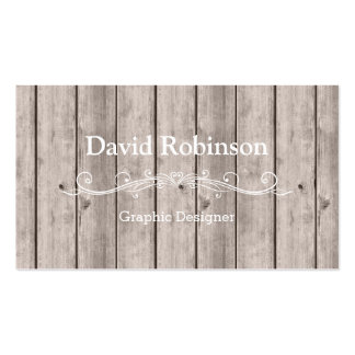 Cool Rustic Country Wooden Texture Look Double-Sided Standard Business Cards (Pack Of 100)