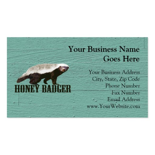 Cool Rustic Honey Badger Business Card Template