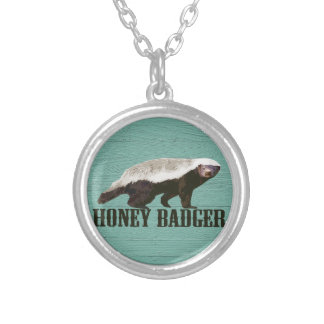Cool Rustic Honey Badger Round Pendant Necklace