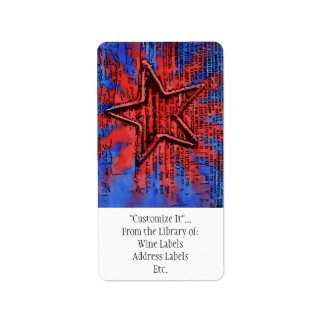 Cool Rustic Star Pop Art Print Address Label