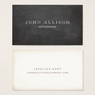Cool Rustic Vintage Guy's Black Chalkboard Business Card