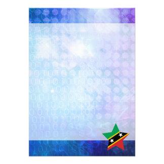"Cool Saint Kitts and Nevis Flag Star 5"" X 7"" Invitation Card"