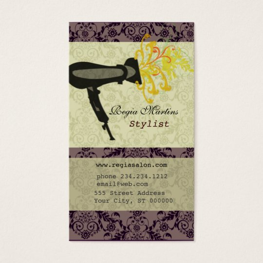 Cool Salon Spa Hair Stylist Damask Hair dryer Business Card