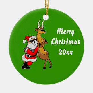 Cool Santa And Reindeer With Sunglasses Ceramic Ornament