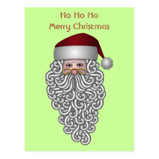 Cool Santa Claus Curly Beard Ho Ho Ho Christmas Postcard