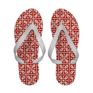 Cool Scandinavian Red and White Checkered Pattern Sandals