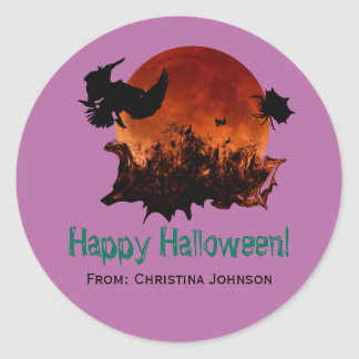 Cool Scary Blood Moon Spider Halloween Party Favor Classic Round Sticker