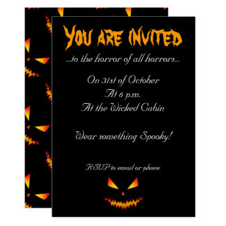 Cool scary Jack O'Lantern face Halloween Invite