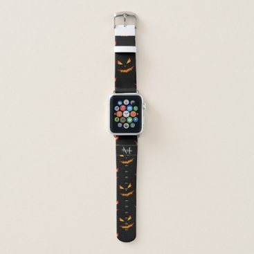Halloween Themed Cool scary Jack O'Lantern Halloween Black Monogram Apple Watch Band